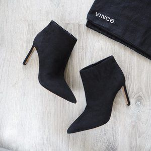 NWOT VINCE pointy black suede ankle boots